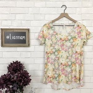 LuLaRoe Yellow Spring Floral Classic Tee
